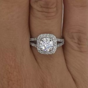 2.05 Carat Round Cut Diamond Engagement Ring 18K White Gold