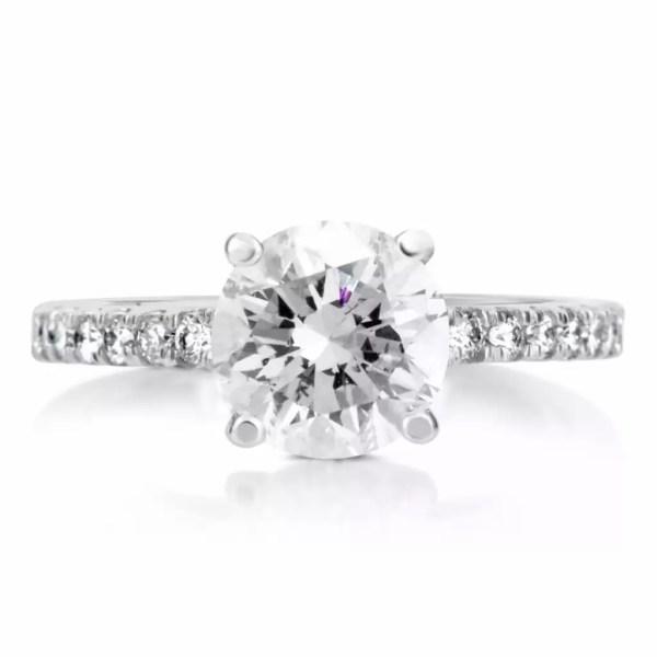 2.1 Carat Round Cut Diamond Engagement Ring 14K White Gold 4