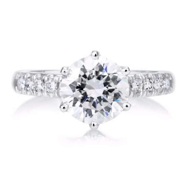2.15 Carat Round Cut Diamond Engagement Ring 18K White Gold 3