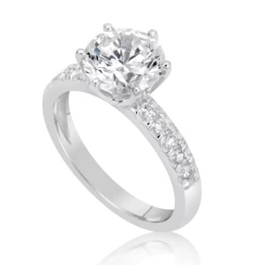 2.15 Carat Round Cut Diamond Engagement Ring 18K White Gold