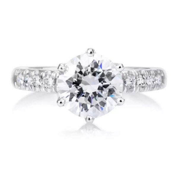 2.15 Ct Round Cut Diamond Solitaire Engagement Ring 18K White Gold 3