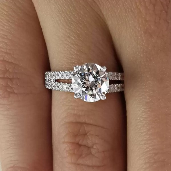2.2 Carat Round Cut Diamond Engagement Ring 14K White Gold 2