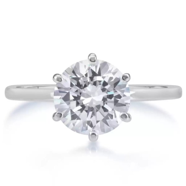 2.25 Carat Round Cut Diamond Engagement Ring 14K White Gold 4