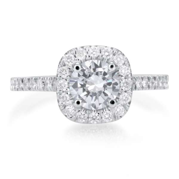 2.25 Carat Round Cut Diamond Engagement Ring 18K White Gold 3