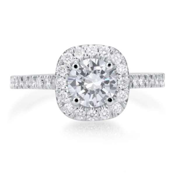 2.25 Carat Round Cut Diamond Engagement Ring 18K White Gold 3