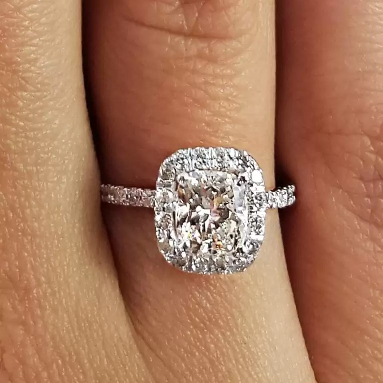 29ed1999ad5 2.28 Ct Cushion Cut D/Si1 Halo Diamond Solitaire Engagement Ring 14K White  Gold