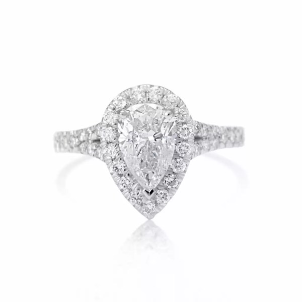 2.5 Carat Pear Cut Diamond Engagement Ring 18K White Gold 3