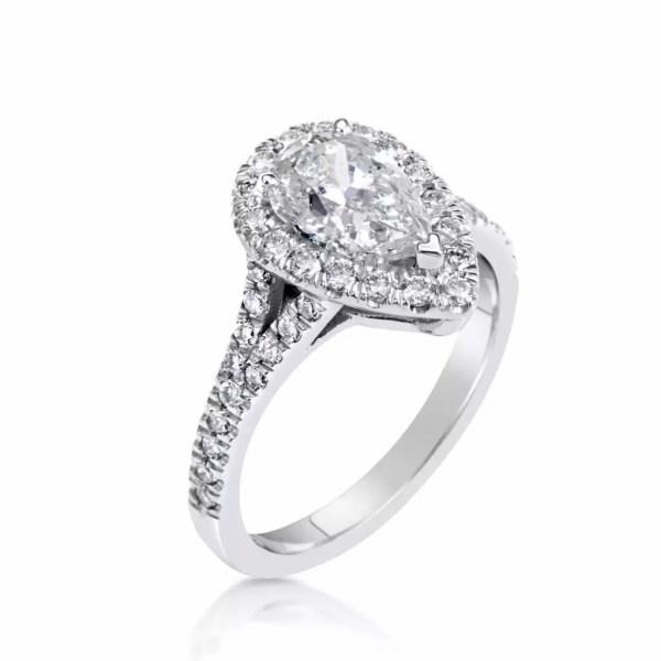 2.5 Ct Pear Shape Cut DSi1 Diamond Solitaire Engagement Ring 18K White Gold 4