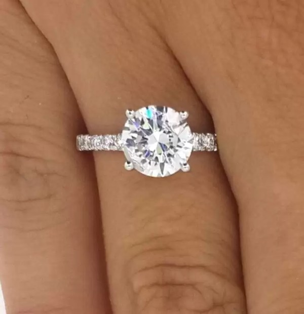 2.5 Ct Round Cut Vs1 Diamond Solitaire Engagement Ring 14K White Gold