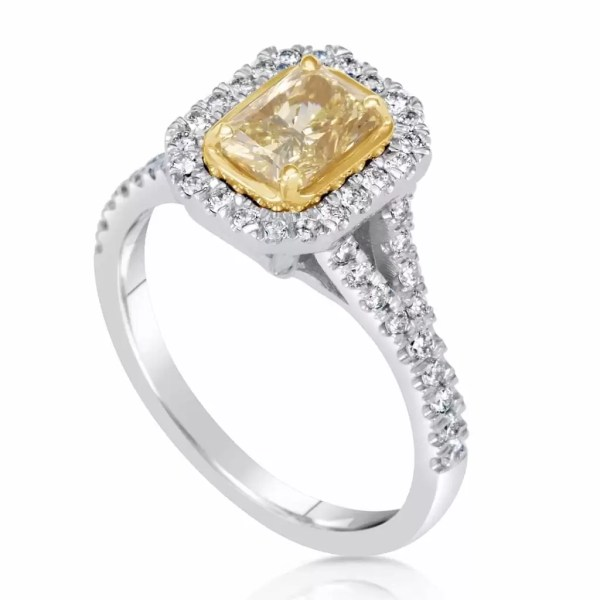 2.50 Ct Radiant Cut Fancy Yellow Halo Diamond Solitaire Engagement Ring 18K Gold 3