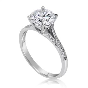 2.50 Ct Round Cut Si1 Diamond Solitaire Engagement Ring 14K White Gold