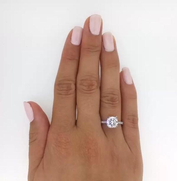 2.52 Carat Round Cut Diamond Engagement Ring 14K White Gold 2