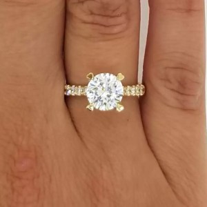 2.52 Carat Round Cut Diamond Engagement Ring 14K Yellow Gold