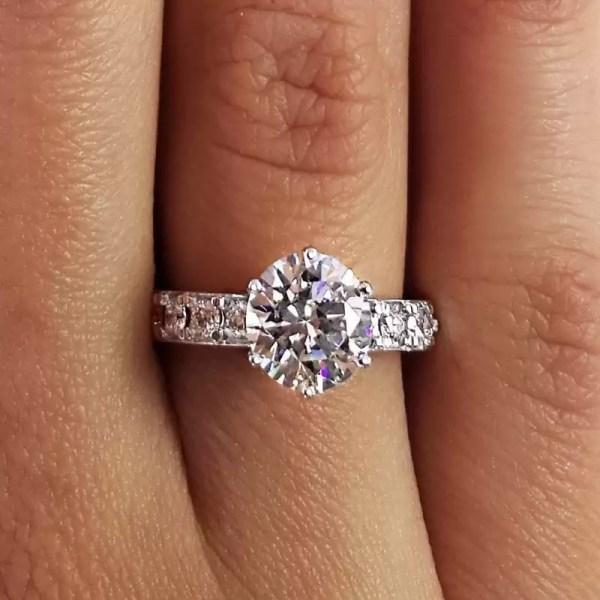 2.70 Ct Round Cut Diamond Solitaire Engagement Ring 14K White Gold 2