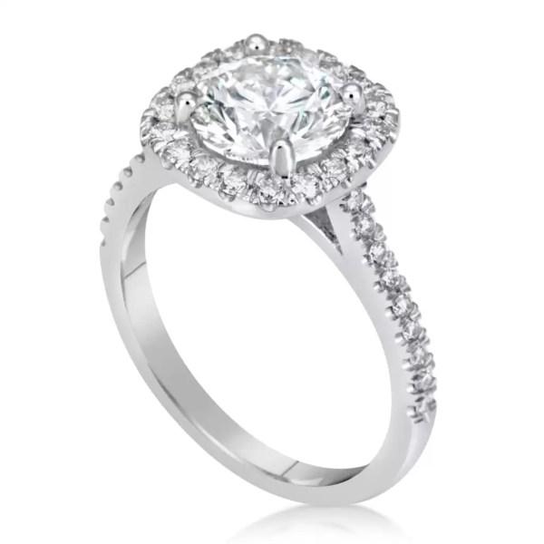 2.78 Carat Round Cut Diamond Engagement Ring 14K White Gold