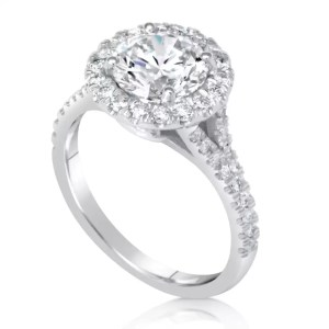2.85 Carat Round Cut Diamond Engagement Ring 14K White Gold