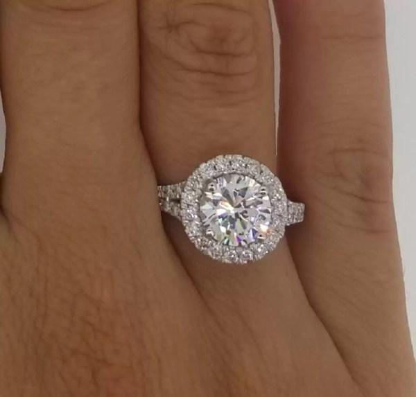 2.85 Carat Round Cut Diamond Engagement Ring 14K White Gold 3