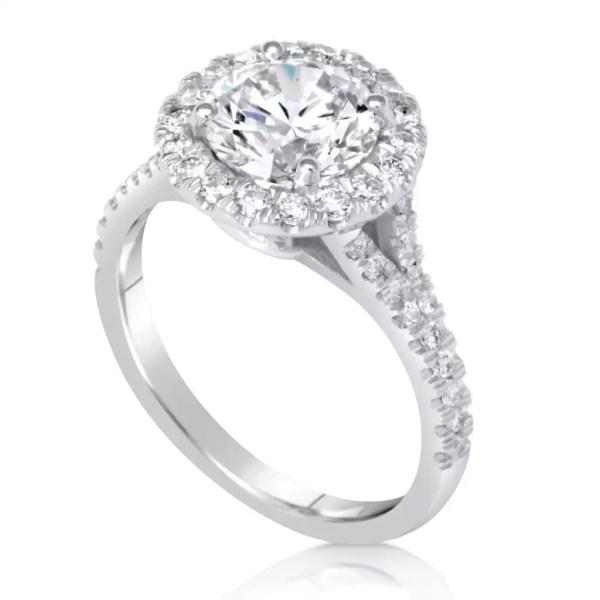2.85 Carat Round Cut Diamond Engagement Ring 18K White Gold
