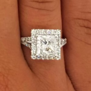 3 Carat Princess Cut Diamond Engagement Ring 14K White Gold