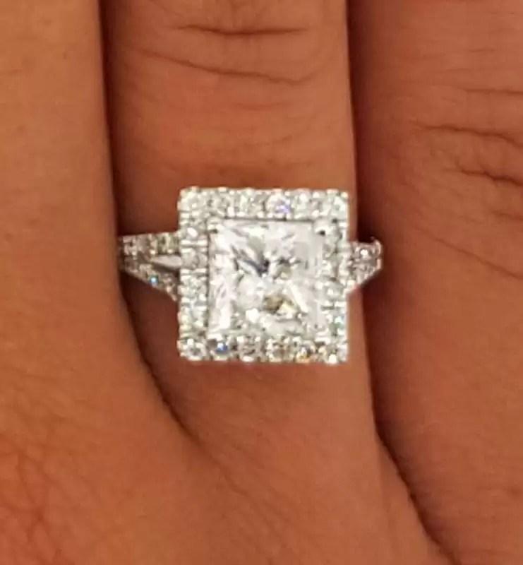 3 00 Ct Princess Cut Diamond Solitaire Engagement Ring Ara Diamonds