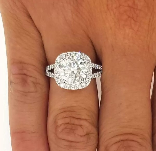3.50 Ct Round Cut Cushion Halo Diamond Engagement Ring 14K White Gold 2nd