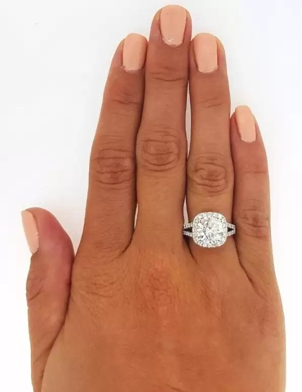 3.50 Ct Round Cut Cushion Halo Diamond Engagement Ring 14K White Gold 3