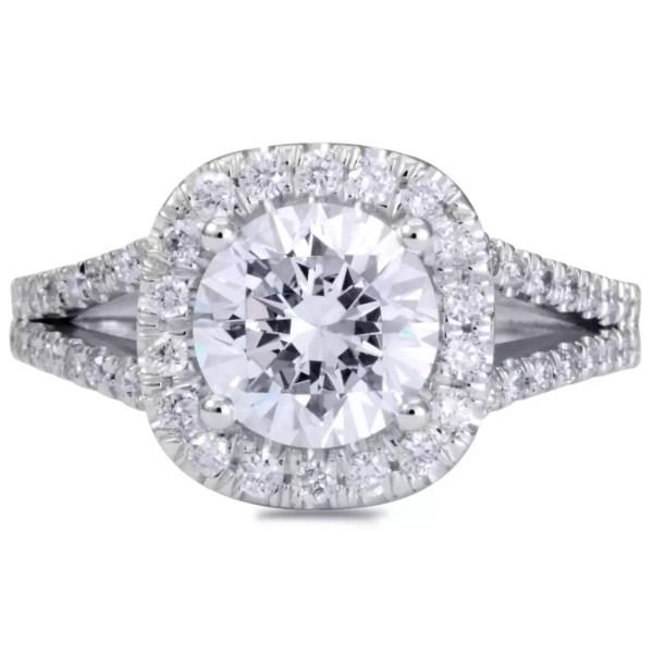 3.50 Ct Round Cut Cushion Halo Diamond Engagement Ring 14K White Gold 4