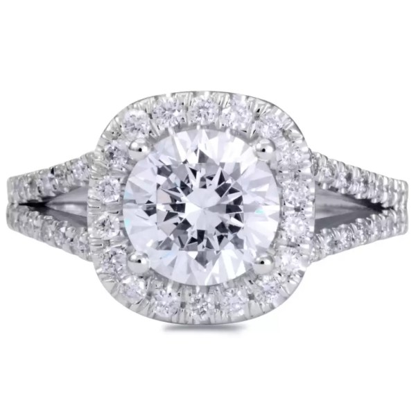 3.50 Ct Round Cut Cushion Halo Diamond Engagement Ring 14K White Gold 4