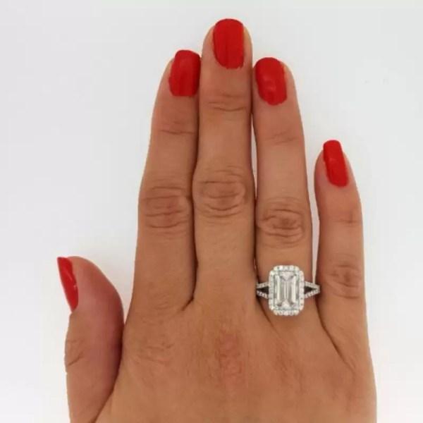 4 Carat Emerald Cut Diamond Engagement Ring 18K White Gold 2