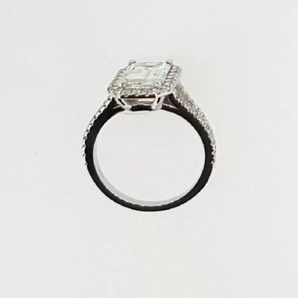 4 Carat Emerald Cut Diamond Engagement Ring 18K White Gold 4
