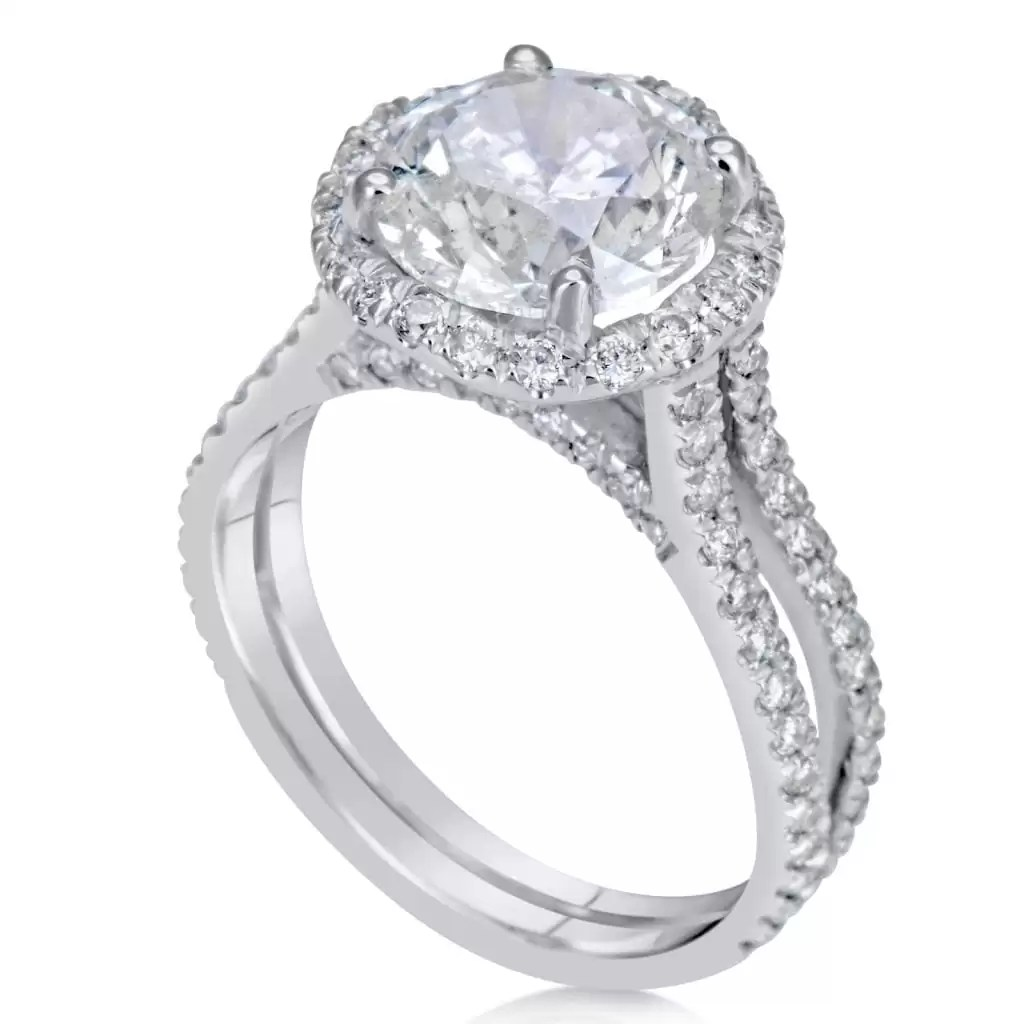 4.25 Carat Round Cut Diamond Engagement Ring