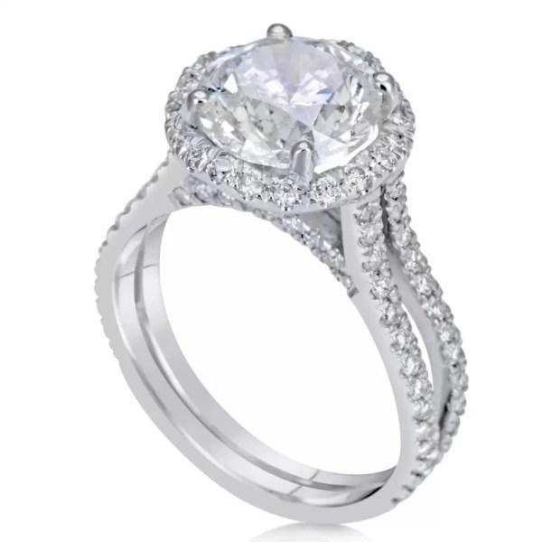4.25 Carat Round Cut Diamond Engagement Ring 18K White Gold