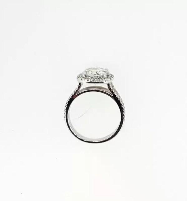 4.5 Carat Round Cut Diamond Engagement Ring 14K White Gold 3