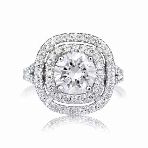 4.52 Carat Round Cut Diamond Engagement Ring 18K White Gold 4