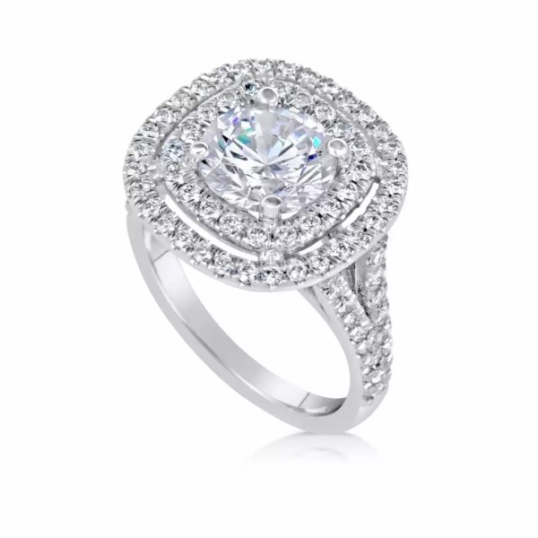 4.52 Ct Round Cut F/Vs2 Diamond Solitaire Engagement Ring 18K White Gold