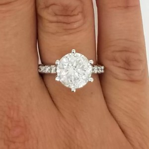 4.55 Carat Round Cut Diamond Engagement Ring 14K White Gold