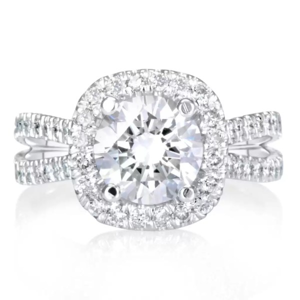 5.25 Carat Round Cut Diamond Engagement Ring 18K White Gold 4