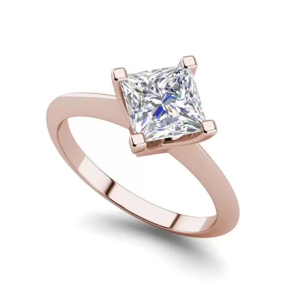 4 Prong 2 Carat VS2 Clarity H Color Princess Cut Diamond Engagement Ring Rose Gold