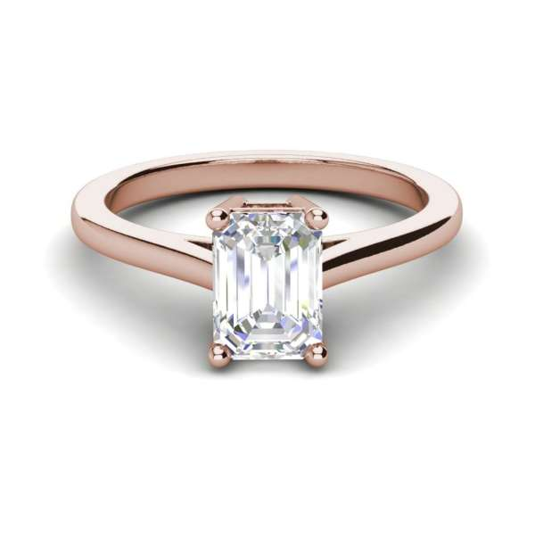4 Prong 2.25 Carat VS2 Clarity D Color Emerald Cut Diamond Engagement Ring Rose Gold 3