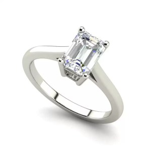 4 Prong 2.25 Carat VS2 Clarity D Color Emerald Cut Diamond Engagement Ring White Gold