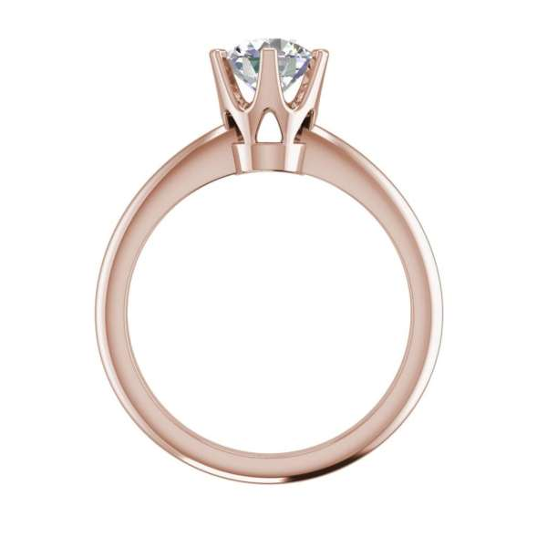 6 Prong Solitaire 1.5 Carat VS2 Clarity D Color Round Cut Diamond Engagement Ring Rose Gold 2