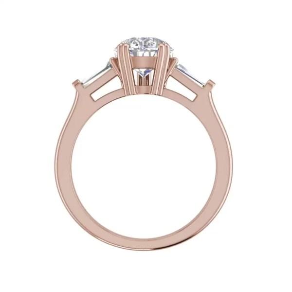 Baguette Accents 1 Ct VVS1 Clarity D Color Pear Cut Diamond Engagement Ring Rose Gold 2
