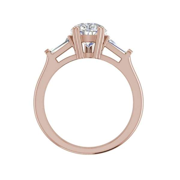 Baguette Accents 1 Ct VVS1 Clarity D Color Pear Cut Diamond Engagement Ring Rose Gold 2