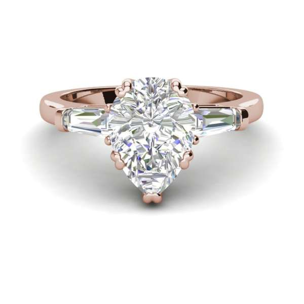 Baguette Accents 1.25 Ct VS2 Clarity F Color Pear Cut Diamond Engagement Ring Rose Gold 3