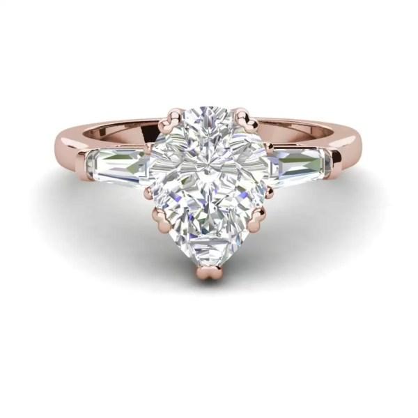 Baguette Accents 1.25 Ct VVS1 Clarity D Color Pear Cut Diamond Engagement Ring Rose Gold 3