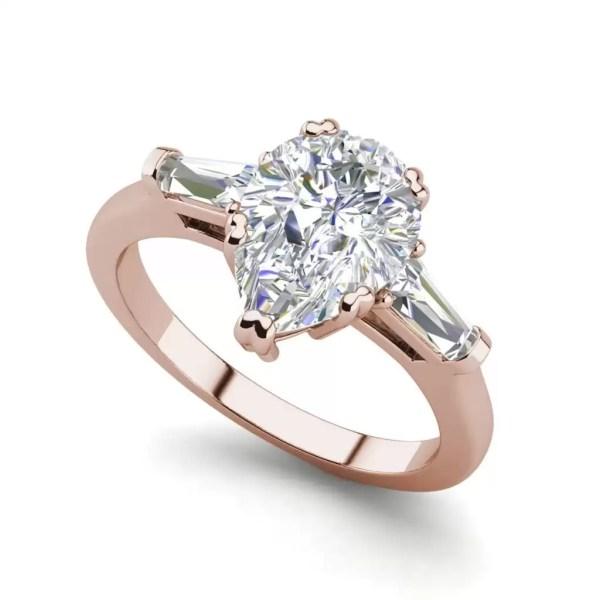 Baguette Accents 1.25 Ct VVS2 Clarity F Color Pear Cut Diamond Engagement Ring Rose Gold