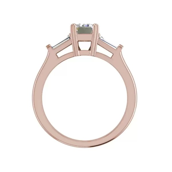 Baguette Accents 1.5 Ct VS2 Clarity F Color Emerald Cut Diamond Engagement Ring Rose Gold 2