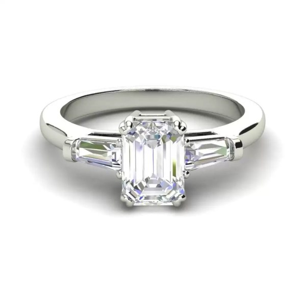 Baguette Accents 1.5 Ct VS2 Clarity F Color Emerald Cut Diamond Engagement Ring White Gold 3