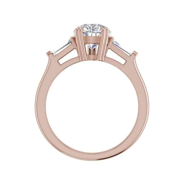 Baguette Accents 2.5 Ct VVS1 Clarity D Color Pear Cut Diamond Engagement Ring Rose Gold 2