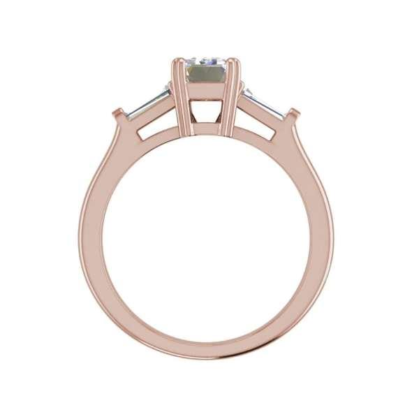 Baguette Accents 3 Ct VVS2 Clarity F Color Emerald Cut Diamond Engagement Ring Rose Gold 2